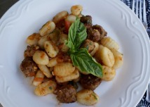 Gnocchi with Italian sausage, tomatoe and herb sauce