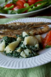 Mediterranean potatoes and swiss chard