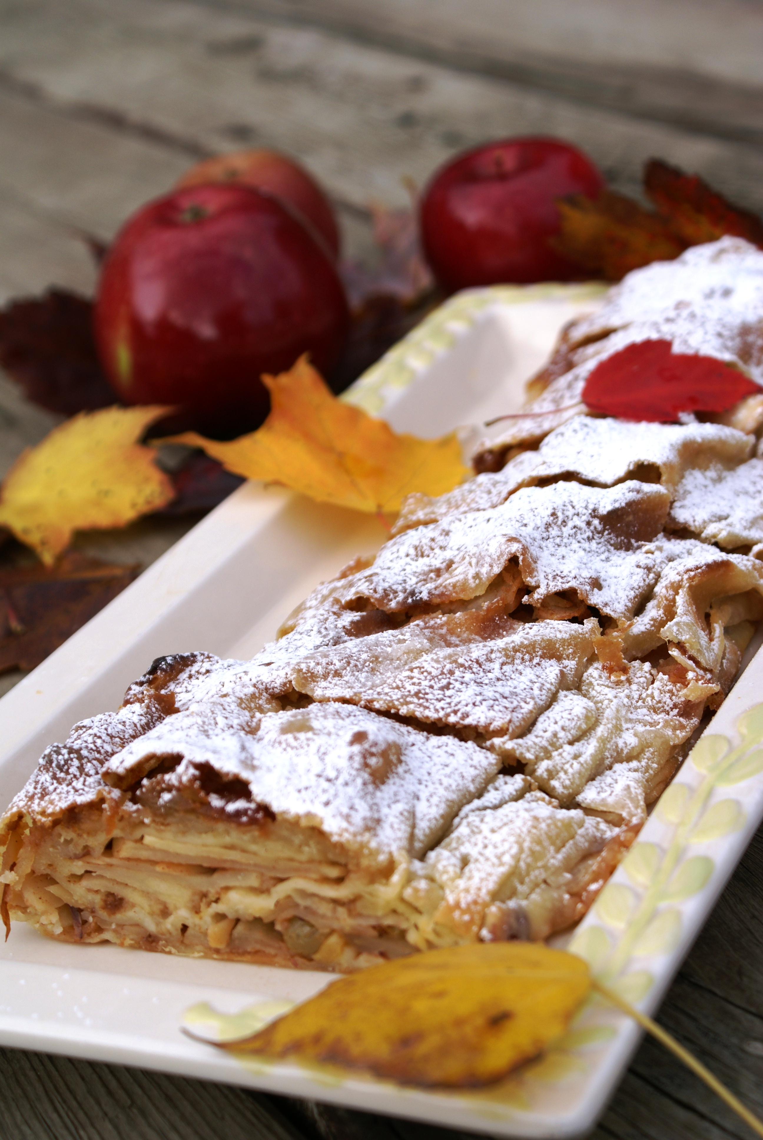 Classic Vienna Apple Strudel or Wiener Apfelstrudel |