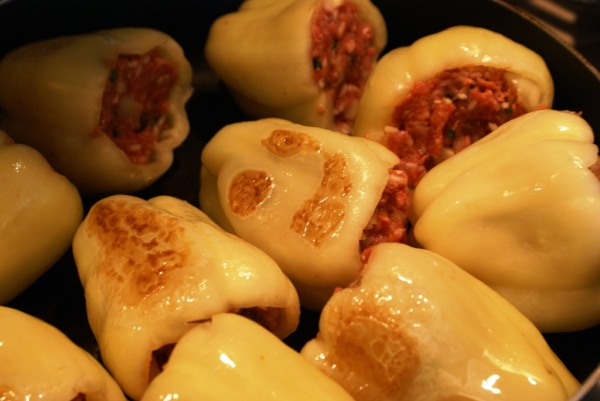 Browning stuffed peppers
