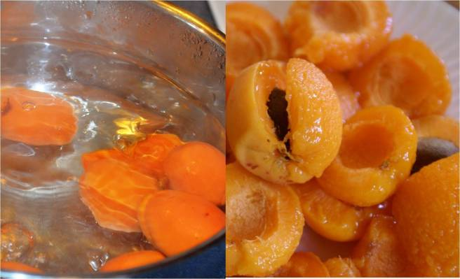 boil and peel apricots