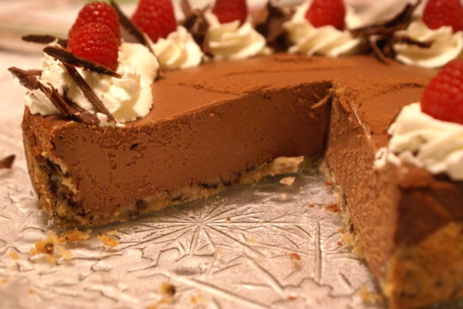 Silky Chocolate Cheesecake with Raspberry Cookie Crust