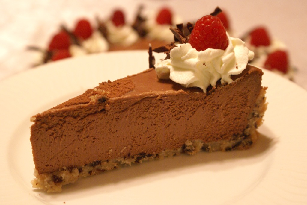 Silky Chocolate Cheesecake with Raspberry Cookie Crust |